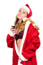 Young sexy Santa Girl with glass of wine Stock Image