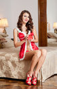 Young sexy santa holding a gift boudoir shoot attractive brunette with long hair wearing a provocative lingerie xmas style Royalty Free Stock Photography