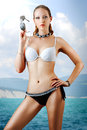 Young sexy slim woman black white fashion bikini beach Stock Photography