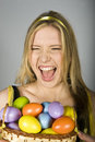 Young sexy surprized woman with easter eggs Stock Images