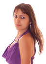 Young sexy woman in purple dress isolated Royalty Free Stock Photography