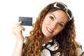 Young shopping woman holding credit card Stock Images