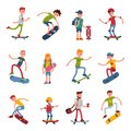 Young skateboarder active people sport extreme active skateboarding urban jumping tricks vector illustration. Royalty Free Stock Photo