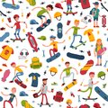 Young skateboarder active people sport vector extreme active skateboarding urban jumping tricks seamless pattern Royalty Free Stock Photo