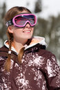 Young skier smiling Stock Image