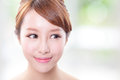 Young skin care woman look empty copy space beauty asian beauty Royalty Free Stock Photo
