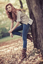 Young slim woman autumn portrait Stock Photo