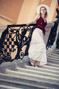 Young slim woman on stairs Royalty Free Stock Photo