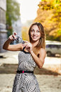 Young smile woman sunlight city portrait Royalty Free Stock Photo
