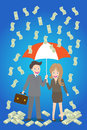 Young smiley couple with umbrella standing under money rain Stock Images