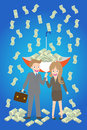 Young smiley couple with upturned umbrella standing under money rain Royalty Free Stock Photos