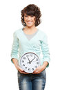 Young smiley woman with clock Royalty Free Stock Photo