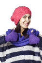 Young smiley woman in winter cloth showing hand ok sign pretty Royalty Free Stock Image