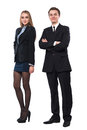 Young smiling business woman and business man Royalty Free Stock Photos