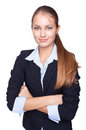 Young smiling businesswoman isolated on white Stock Photo