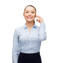 Young smiling businesswoman with smartphone business technology and education concept friendly Stock Photo