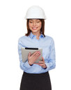 Young smiling businesswoman in white helmet building developing consrtuction and architecture concept friendly Stock Image