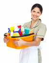 Young smiling cleaner woman smiyoung isolated over white background ling isolated over white background Royalty Free Stock Photos