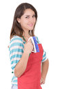 Young smiling cleaning woman isolated over white background this image has attached release Royalty Free Stock Images