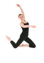 Young smiling dancer female in black leotard Royalty Free Stock Photos