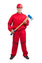 Young smiling fireman with hard hat with ax Royalty Free Stock Photo