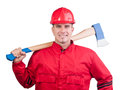 Young smiling fireman with hard hat and ax Royalty Free Stock Photo