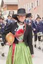 Young smiling mark eden provider in dirndl the mountain protect partenkirchen troops at patronatstag miesbach on Royalty Free Stock Image