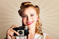 Young Smiling Vintage Girl Taking Photo Stock Images