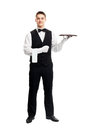 Young smiling waiter with empty tray full length portrait of happy isolated on white background Royalty Free Stock Image