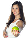 Young smiling woman with apple Royalty Free Stock Image