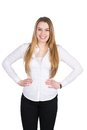 Young smiling woman cut out image of a who is holding her hands at her hips Stock Image