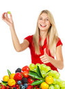 Young smiling woman with fresh berries Royalty Free Stock Photography
