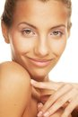 Young smiling woman with healthy skin beautiful Stock Photos