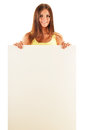 Young smiling woman holding a blank board isolated on white background Royalty Free Stock Photos