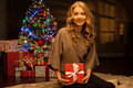 Young smiling woman holding red christmas gift Royalty Free Stock Photos