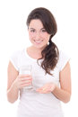 Young smiling woman with pill and glass of water isolated on whi white background Stock Photography