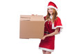 Young snow girl with box on white Royalty Free Stock Photography