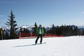 Young snowboard man sliding downhill Royalty Free Stock Photos
