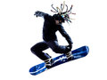 Young snowboarder man silhouette one caucasian in white background Stock Photo