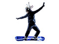 Young snowboarder man silhouette one in white background Royalty Free Stock Photo