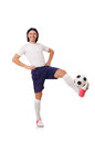Young soccer football player on white Royalty Free Stock Photos