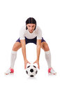 Young soccer football player on white Royalty Free Stock Photo