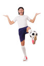 Young soccer football player on white Stock Photo