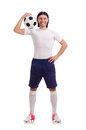 Young soccer football player on white Stock Photography