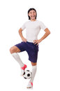 Young soccer football player on white Stock Images
