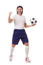 Young soccer football player on white Royalty Free Stock Image