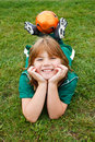 Young soccer player a girl posing for a portrait Royalty Free Stock Image