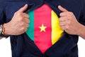 Young sport fan opening his shirt and showing the flag his count country cameroon cameroonian Royalty Free Stock Photography