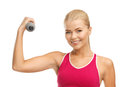 Young sporty woman with light dumbbell picture of Stock Image