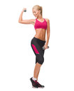 Young sporty woman with light dumbbells fitness sport and dieting concept Royalty Free Stock Photography